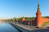 Moskva River embankment along the walls of the Kremlin