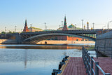 morning cityscape of Moscow, a bridge across the river