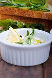 fresh vegetarian sandwich with garlic cheese dip salad