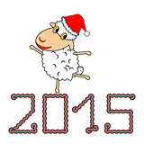 A funny Christmas cartoon sheep