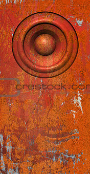 3d render grunge orange old speaker sound system