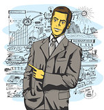 Vector Business Man Show Something With Finger