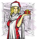 Vector Woman Waiting For Christmas