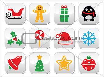 Christmas buttons set - Santa, xmas tree, present