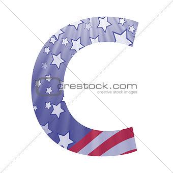 american flag letter C