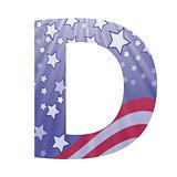 american flag letter D