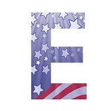 american flag letter E