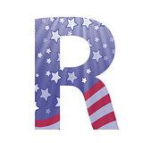american flag letter R