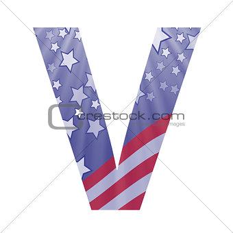 american flag letter V