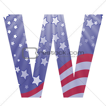 american flag letter W