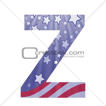 american flag letter Z