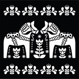 Swedish Dala or Daleclarian horse folk art pattern on black