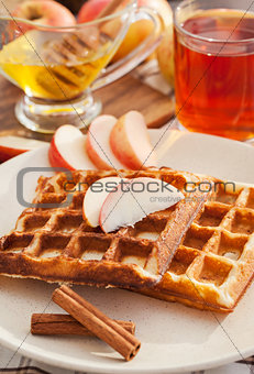 Apple waffles for breakfast