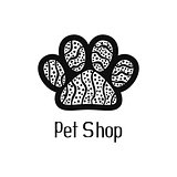 Original pet shop logo with pet paw