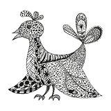 Vintage fantasy stylized bird
