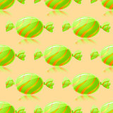 Shiny Green Candies Seamless Pattern