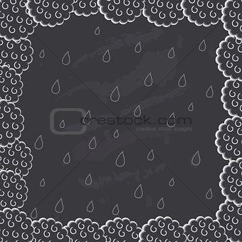 Chalk Drawn Cloud Frame on Blackboard