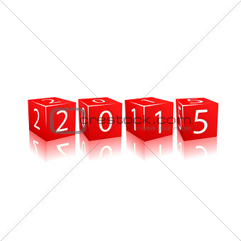 2015 year numbers on red cubes