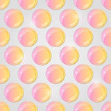 Yellow Pink Round Shiny Glass Drop on Grey Background