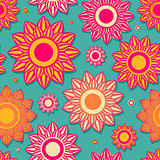 Vintage Seamless Background Texture with Flowers