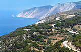 Summer Ionian sea coast  view (Kefalonia, Greece)