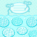 Cyan Cloud Invitation Card with Label