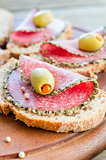 Sandwiches with italian salami and pears