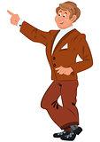 Happy cartoon man standing in brown suit