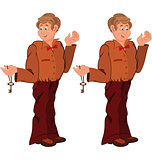 Happy cartoon man standing in brown uniform with key