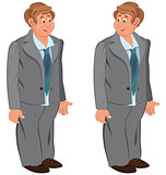 Happy cartoon man standing in gray suit and green tie