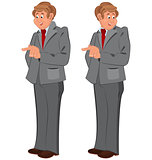 Happy cartoon man standing in gray suit