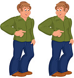 Happy cartoon man standing in green polo shirt and pointing