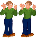 Happy cartoon man standing in green top thumbs up