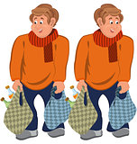 Happy cartoon man standing in orange sweater with grocery bags
