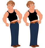 Happy cartoon man standing in sleeveless top