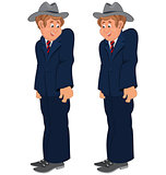 Happy cartoon man standing in striped tie and gray hat