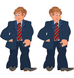 Happy cartoon man standing in striped tie