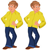 Happy cartoon man standing in yellow shirt