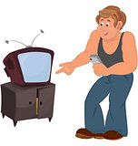 Happy cartoon man standing near TV