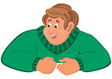 Happy cartoon man torso in green sweater elbows on top
