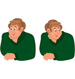Happy cartoon man torso in green sweater