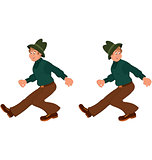 Happy cartoon man walking in green hat