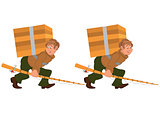 Happy cartoon man walking with fishing rod and big box