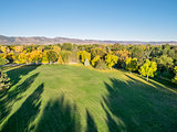 park in fall colors - aerial view