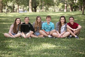 Six Teens Sitting