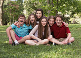 Laughing Group of Six Teens