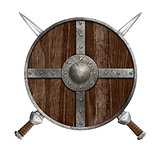 Two crossed swords and wooden viking shield isolated