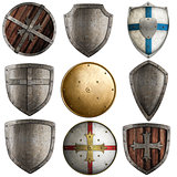shields collection isolated on white