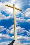 Christian cross on sky. Religion and faith concept.
