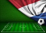 Soccer or football background with flag of Nederland